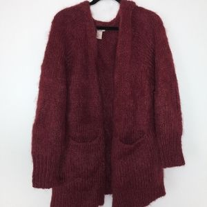 Sweaters - BURGUNDY MOHAIR BLEND CARDIGAN